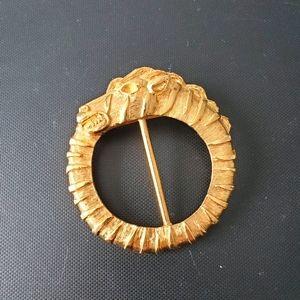 Vintage gold tone Ouroboros brooch